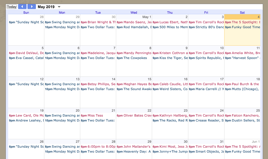 May Calendar @ 5 Spot