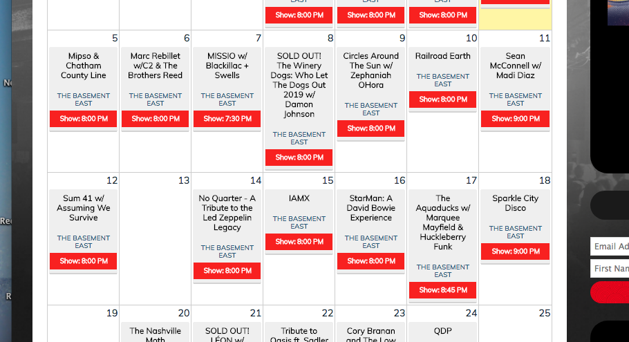 May Calendar @ Basement East
