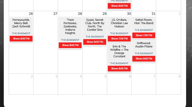 May Calendar @ The Basement